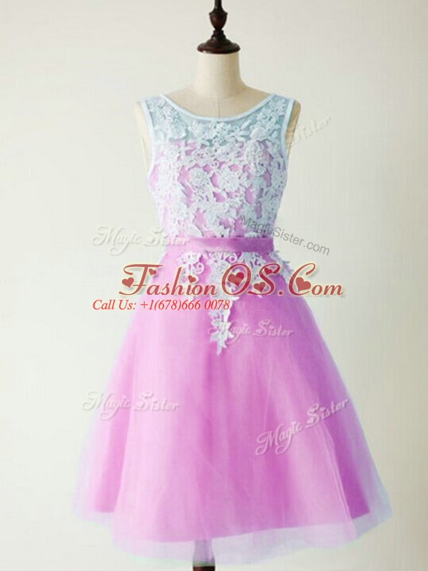 Lilac Quinceanera Dama Dress Prom and Party and Wedding Party with Lace Scoop Sleeveless Lace Up