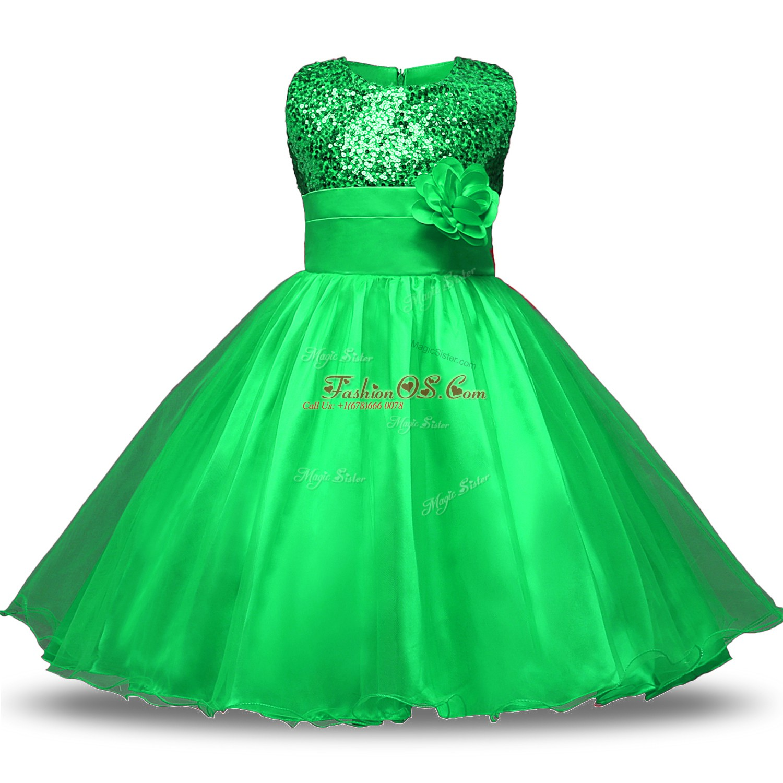 Custom Fit Green Scoop Neckline Belt and Hand Made Flower Toddler Flower Girl Dress Sleeveless Zipper
