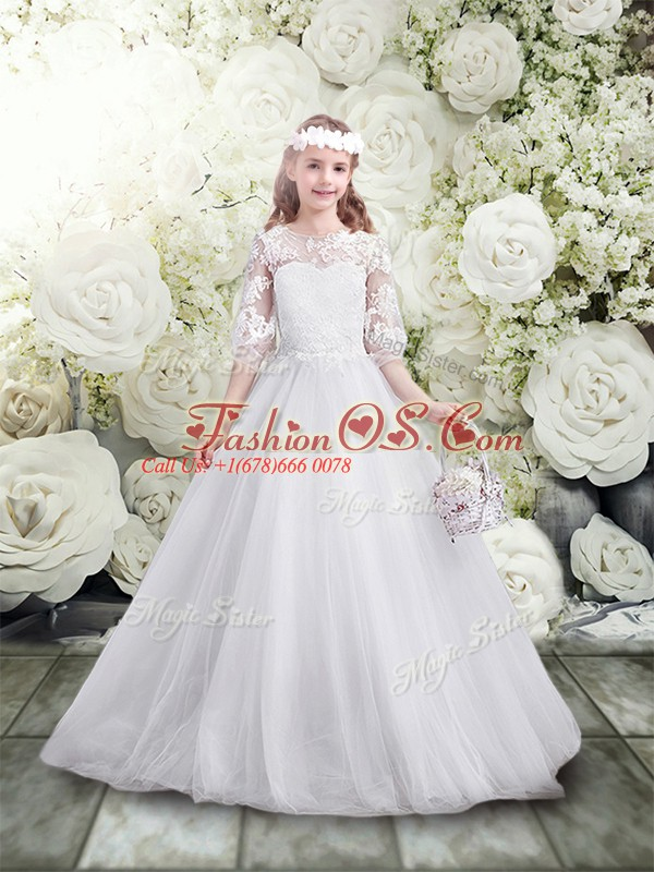 A-line Toddler Flower Girl Dress White Scoop Tulle Half Sleeves Floor Length Lace Up