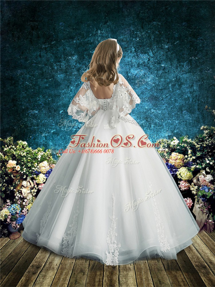 Floor Length White Flower Girl Dress Tulle Half Sleeves Lace