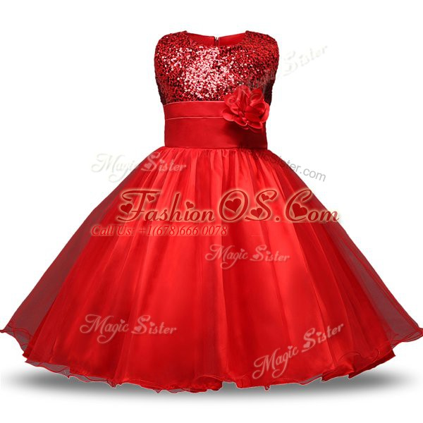 Dynamic Organza and Sequined Scoop Sleeveless Zipper Bowknot and Belt and Hand Made Flower Flower Girl Dresses for Less in Red