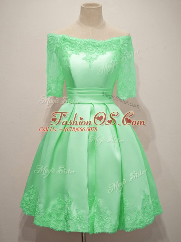 Fitting Taffeta Half Sleeves Knee Length Wedding Party Dress and Lace