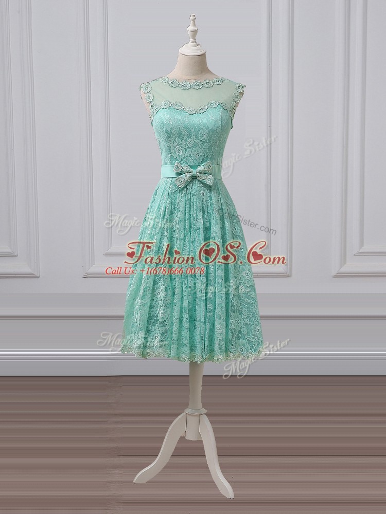High Class Scoop Sleeveless Lace Up Bridesmaid Dress Apple Green Lace