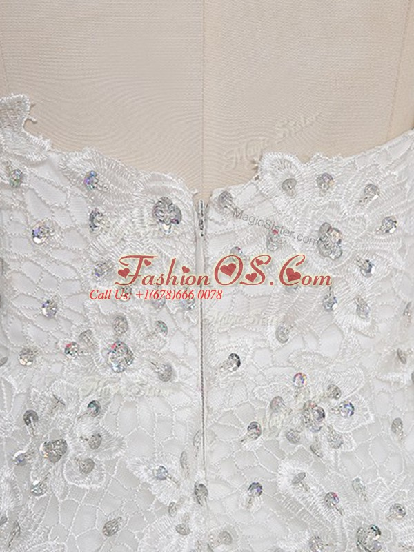 A-line Ball Gown Prom Dress White Scoop Tulle Sleeveless Mini Length Zipper