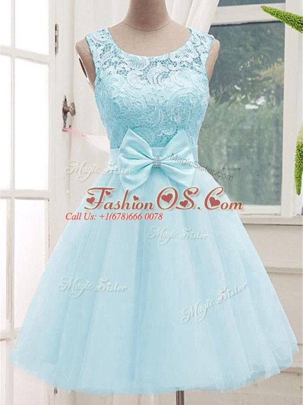 Aqua Blue A-line Scoop Sleeveless Tulle Knee Length Lace Up Lace Quinceanera Court Dresses