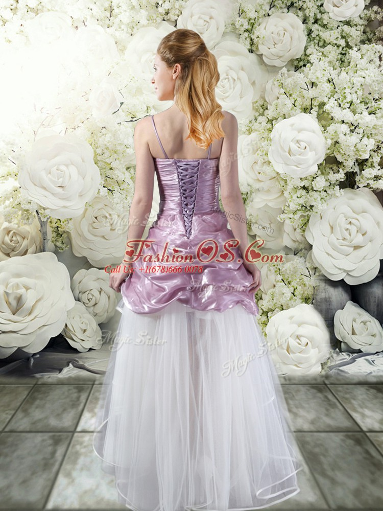 Spaghetti Straps Sleeveless Lace Up Bridal Gown White And Purple Tulle