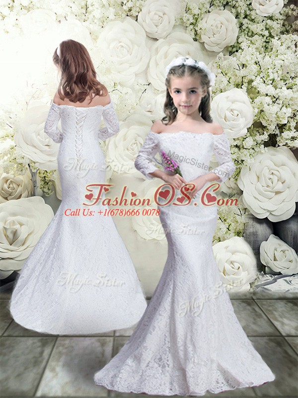 Inexpensive White Mermaid Off The Shoulder 3 4 Length Sleeve Lace Floor Length Lace Up Lace Flower Girl Dress
