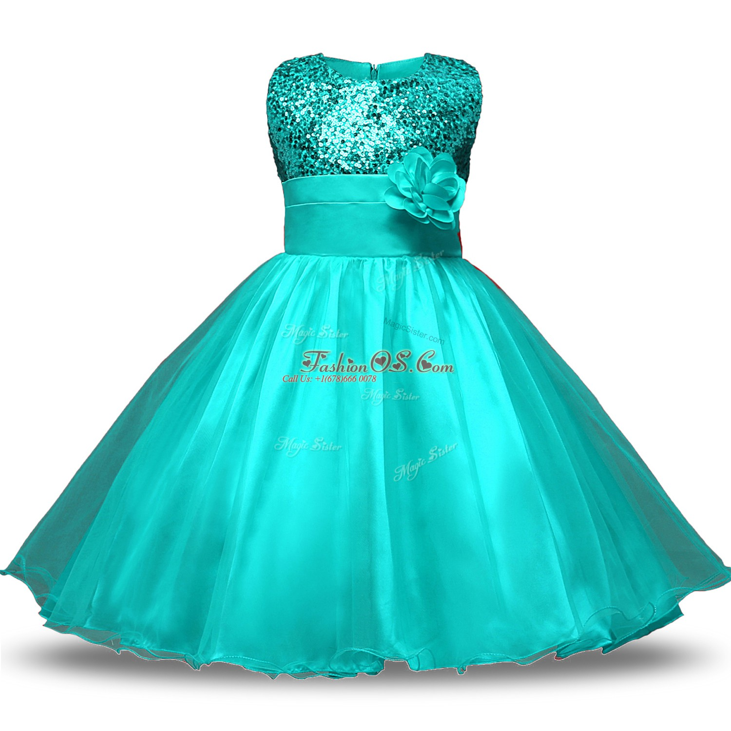 Knee Length Turquoise Toddler Flower Girl Dress Scoop Sleeveless Zipper