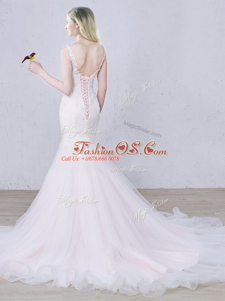 White Lace Up Wedding Gowns Lace Sleeveless Brush Train