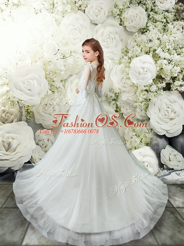 Unique White Toddler Flower Girl Dress Wedding Party with Lace Scoop 3 4 Length Sleeve Brush Train Clasp Handle