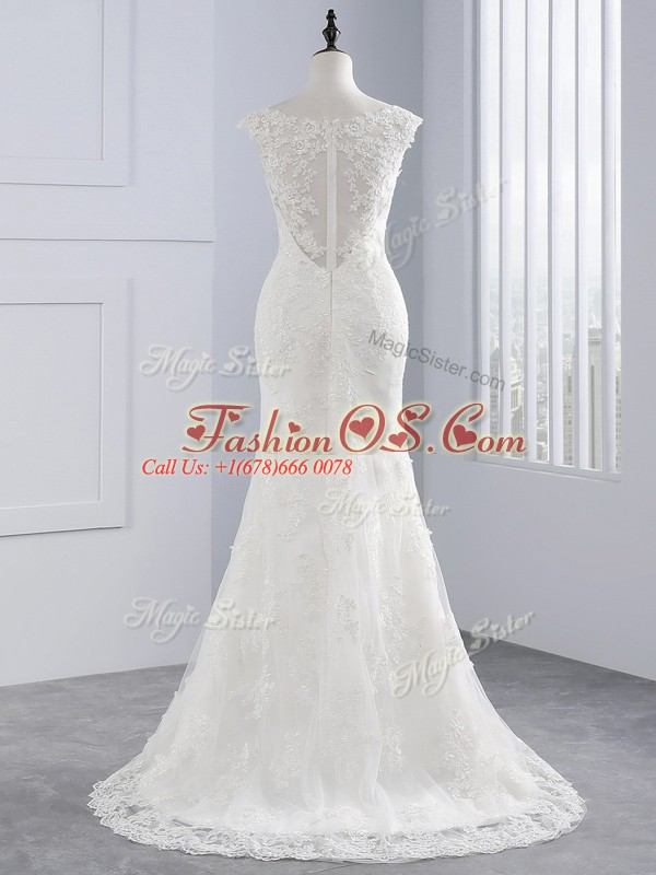 Great White Sleeveless Lace and Appliques Zipper Wedding Dresses
