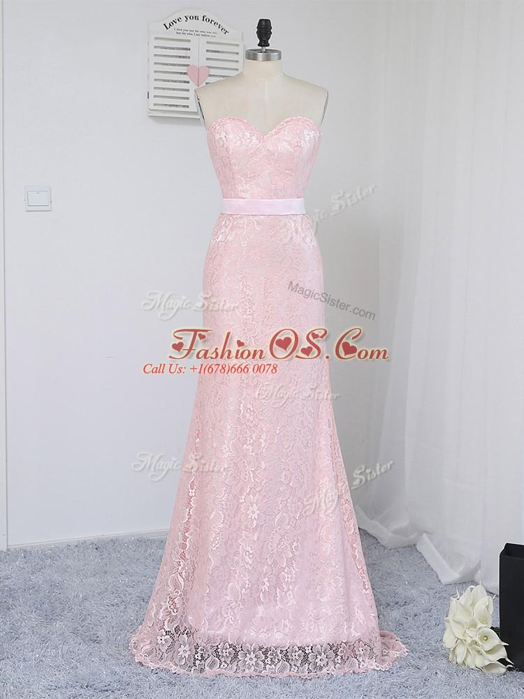 Dazzling Floor Length Column/Sheath Sleeveless Baby Pink Quinceanera Court of Honor Dress Zipper