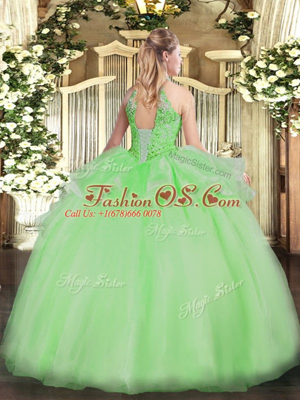 Pretty Aqua Blue Sleeveless Beading Floor Length Sweet 16 Dresses