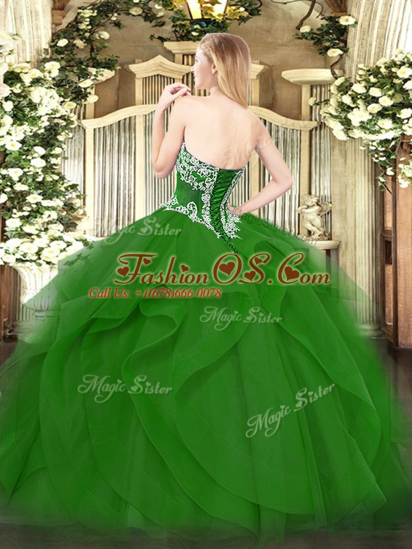 Modern Green Sleeveless Floor Length Beading and Ruffles Lace Up Quinceanera Gowns