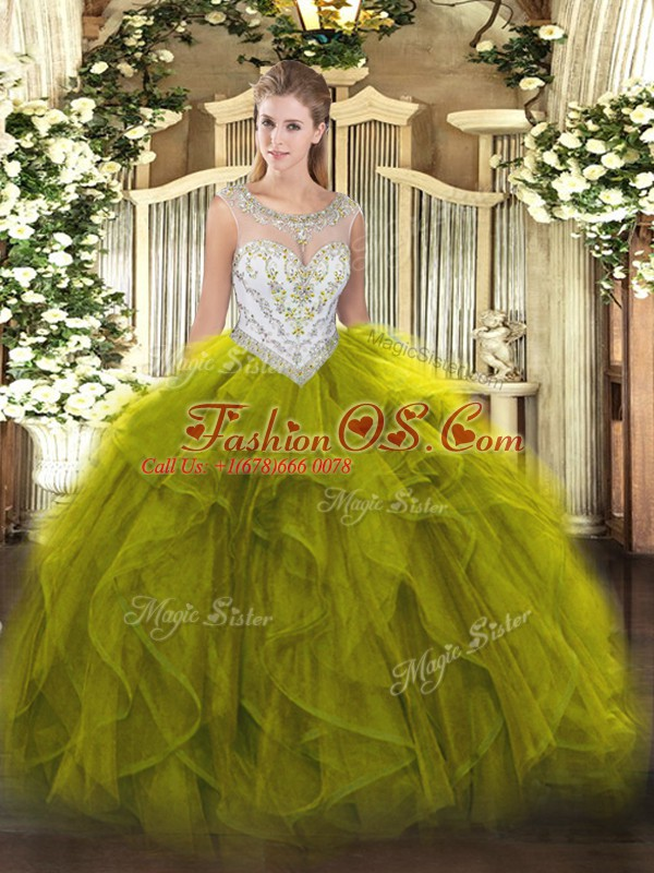 Olive Green Quince Ball Gowns Military Ball and Sweet 16 and Quinceanera with Beading and Ruffles Scoop Sleeveless Zipper
