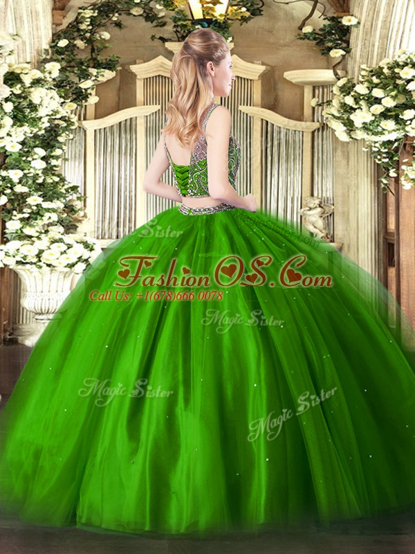 Extravagant Olive Green Scoop Neckline Beading Quinceanera Dress Sleeveless Lace Up
