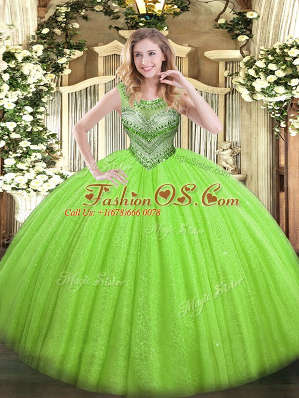 Admirable Ball Gowns Scoop Sleeveless Tulle and Sequined Floor Length Lace Up Beading Sweet 16 Dress