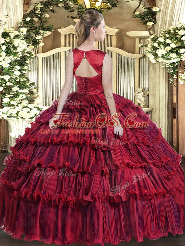 Deluxe Ruffled Layers Ball Gown Prom Dress Wine Red Lace Up Sleeveless Floor Length