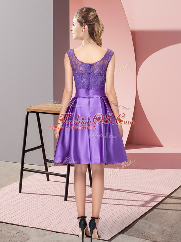 Custom Designed Knee Length A-line Sleeveless Purple Homecoming Dress Zipper