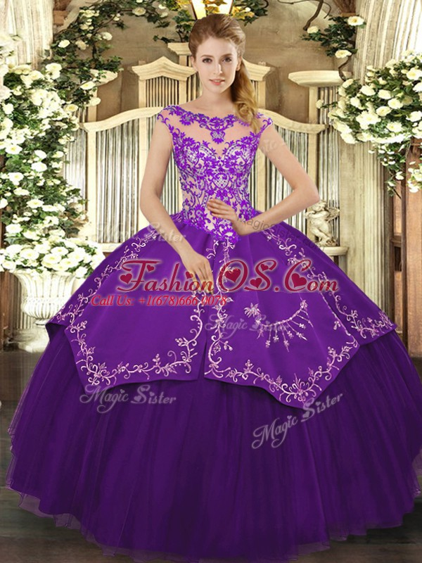 Spectacular Scoop Cap Sleeves Quinceanera Gown Floor Length Beading and Embroidery Purple Satin and Tulle