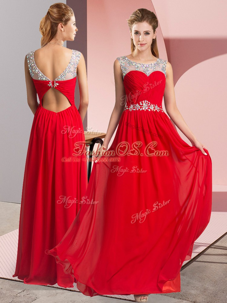 Red Clasp Handle Scoop Beading Prom Party Dress Chiffon Sleeveless