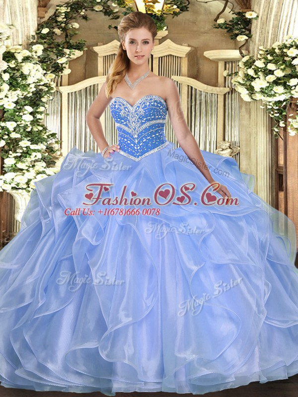 Glorious Blue Organza Lace Up Sweet 16 Quinceanera Dress Sleeveless Floor Length Beading and Ruffles