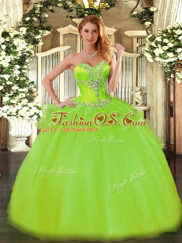 Lovely Sleeveless Tulle Floor Length Lace Up Quinceanera Dress in with Beading