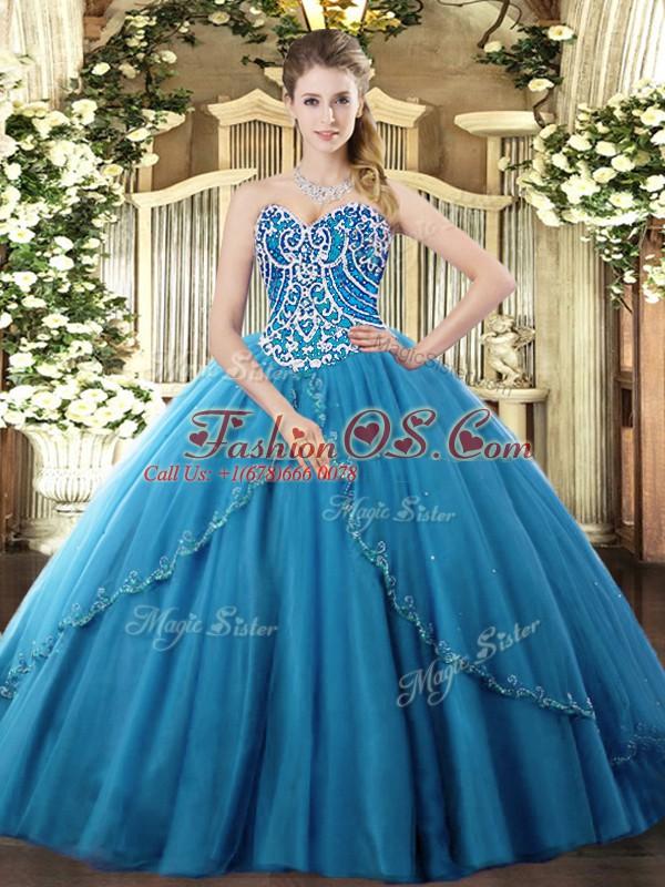Blue Lace Up Sweet 16 Dress Beading Sleeveless Brush Train