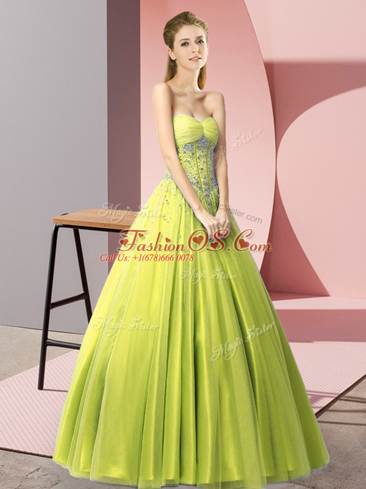 Sleeveless Tulle Floor Length Lace Up Prom Evening Gown in Yellow Green with Beading