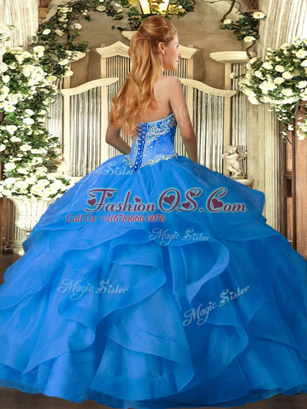 Sumptuous Sleeveless Tulle Floor Length Lace Up Sweet 16 Dress in Aqua Blue with Beading and Ruffles