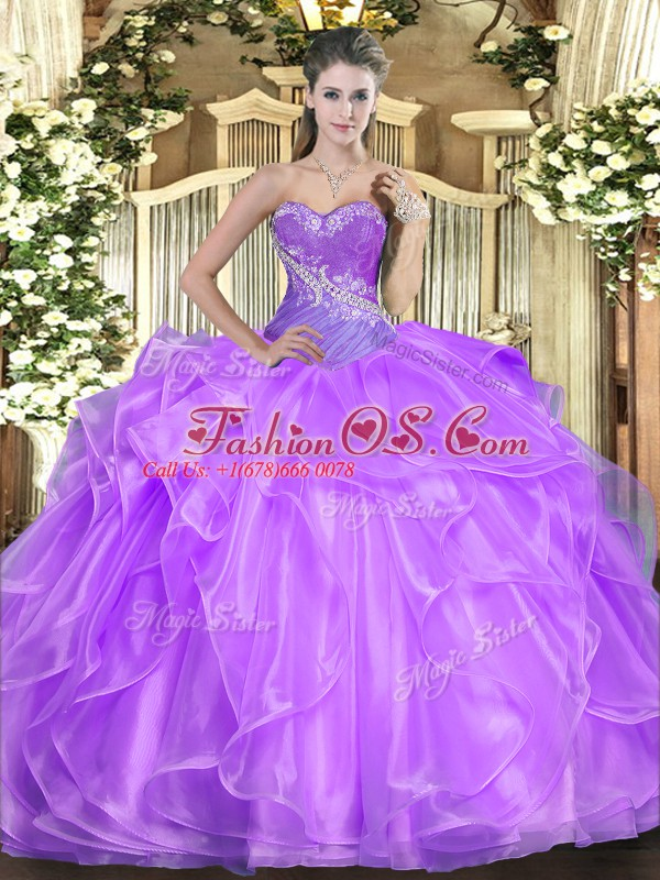 Floor Length Lilac Quinceanera Gown Sweetheart Sleeveless Lace Up