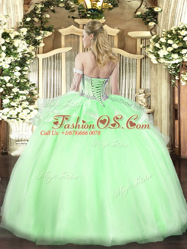 Chic Sweetheart Sleeveless 15 Quinceanera Dress Floor Length Beading Pink Organza
