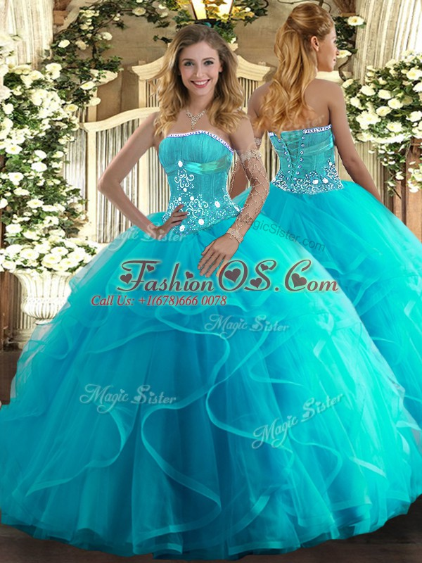 Discount Aqua Blue Sweet 16 Dress Military Ball and Sweet 16 and Quinceanera with Beading and Ruffles Strapless Sleeveless Lace Up