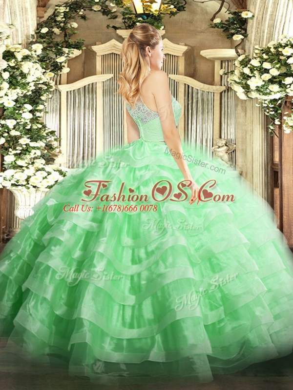 Scoop Sleeveless Ball Gown Prom Dress Floor Length Lace and Ruffled Layers Apple Green Tulle