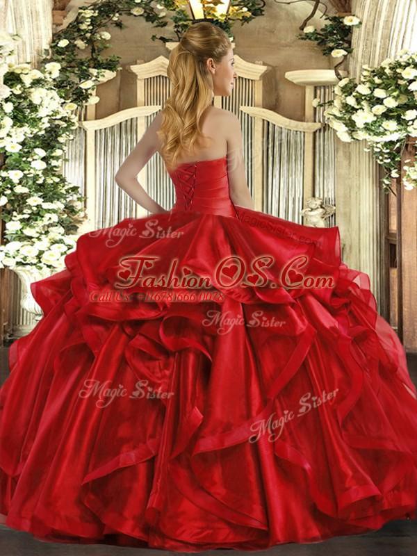 Elegant Sleeveless Ruffles Lace Up Sweet 16 Quinceanera Dress