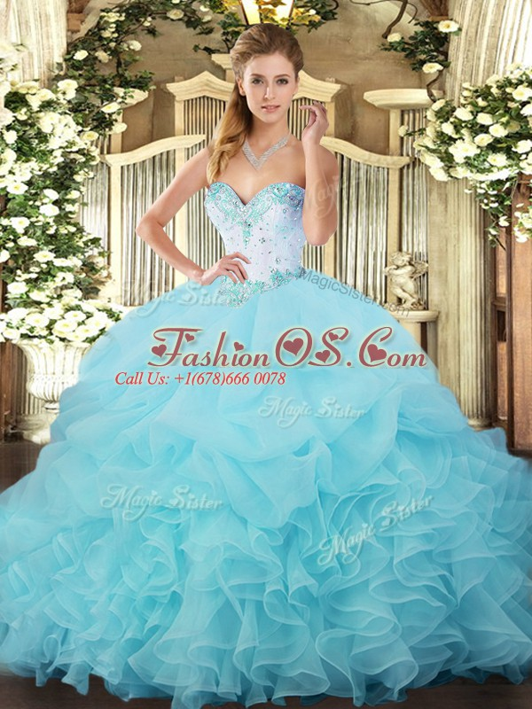 Aqua Blue Ball Gowns Organza Sweetheart Sleeveless Beading and Ruffles and Pick Ups Floor Length Lace Up Quinceanera Dresses