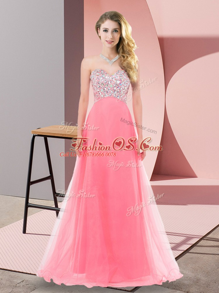 Affordable Sweetheart Sleeveless Tulle Prom Evening Gown Beading Lace Up