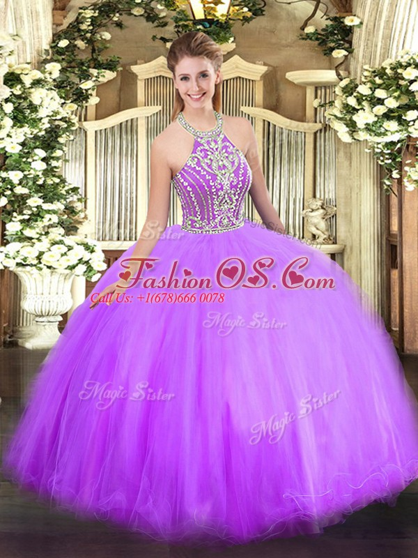 Comfortable Lilac Lace Up Halter Top Beading Quinceanera Gown Tulle Sleeveless
