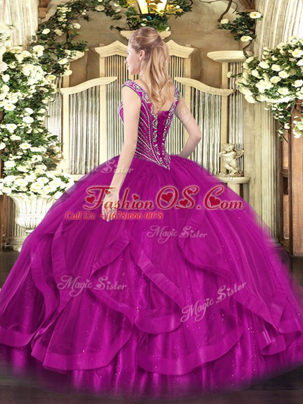 Deluxe Sleeveless Tulle Floor Length Lace Up Quinceanera Dress in Green with Beading and Ruffles