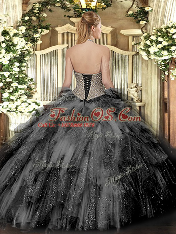 Dramatic Halter Top Sleeveless Lace Up Quinceanera Gown Lilac Tulle