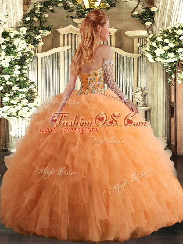 Sweetheart Sleeveless Lace Up Vestidos de Quinceanera Hot Pink Tulle