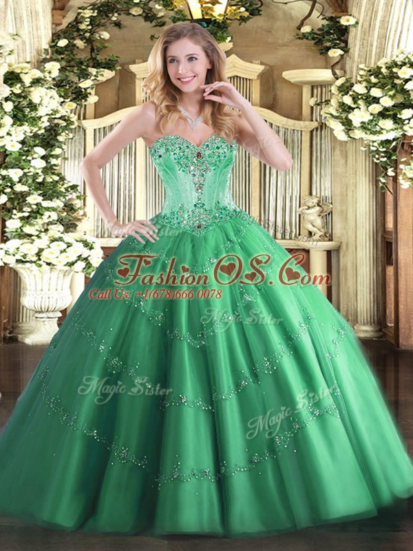 Turquoise Lace Up Sweetheart Beading and Appliques Ball Gown Prom Dress Tulle Sleeveless