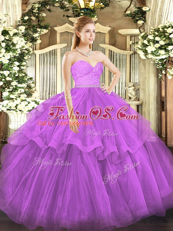 Stunning Sleeveless Beading and Lace and Ruffled Layers Zipper Sweet 16 Dresses with Fuchsia Brush Train