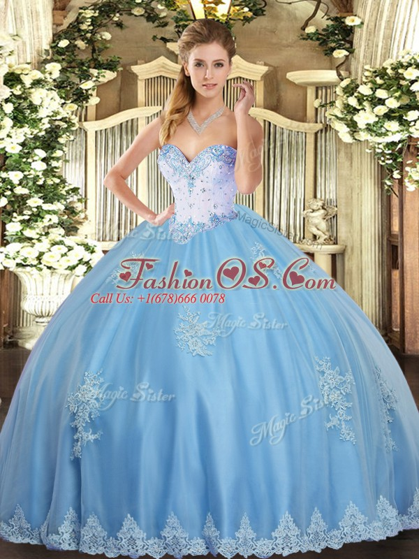 Dramatic Sleeveless Lace Up Floor Length Beading and Appliques Quinceanera Gown