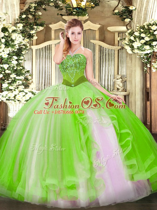 Tulle Strapless Sleeveless Lace Up Beading and Ruffles 15th Birthday Dress in
