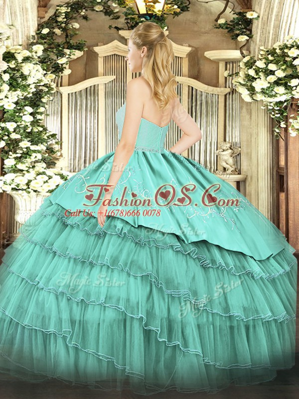 Colorful Fuchsia Ball Gowns Beading and Lace and Embroidery and Ruffled Layers Ball Gown Prom Dress Zipper Organza and Taffeta Sleeveless Floor Length