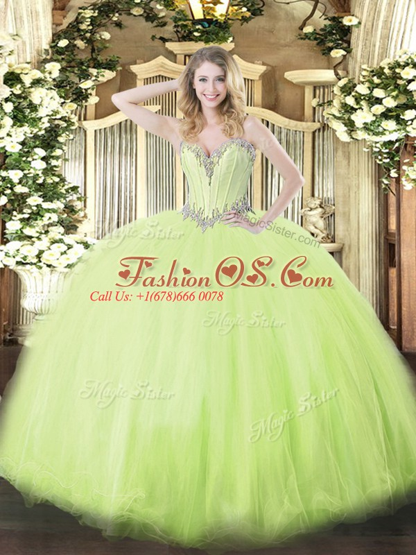 Free and Easy Yellow Green Sweetheart Neckline Beading Sweet 16 Dress Sleeveless Lace Up