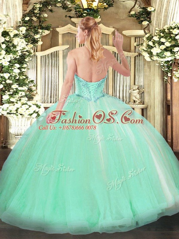 Modest Sweetheart Sleeveless Tulle Sweet 16 Dresses Beading and Ruffles Lace Up