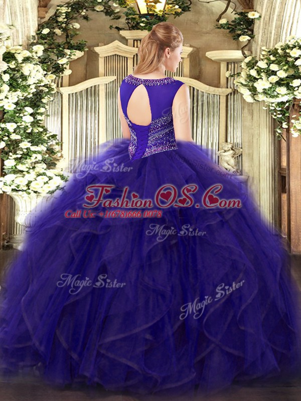Dazzling Ball Gowns Vestidos de Quinceanera Olive Green Scoop Tulle Sleeveless Floor Length Lace Up