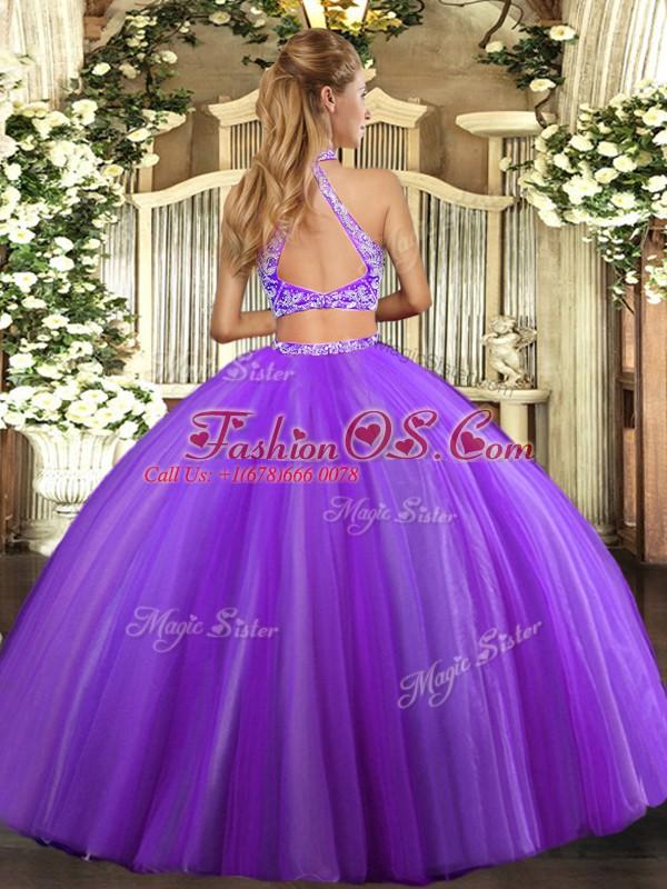 Fantastic Halter Top Sleeveless Criss Cross 15 Quinceanera Dress Aqua Blue Tulle